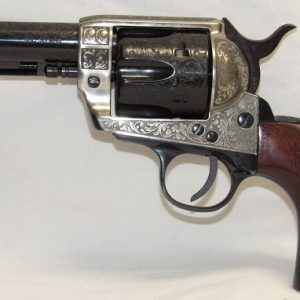 Pietta 1873 Reproduction, 38Spl & 357Mag. Deluxe Nickle Engraved, 4 3/4″ Barrel, Fixed Sights