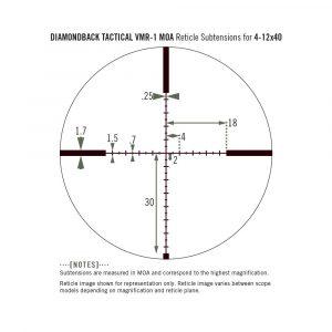 Diamondback Tactical Second Focal Plane 1″ Tube 4-12X40mm, VMR-1 MOA Reticile