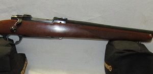Ruger M77V Bolt Action, 220 Swift, Blued 26″ Semi-Heavy Barrel, Walnut Stock, (USED)